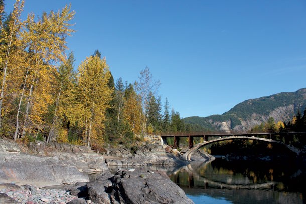 The Belton Bridge near West Glacier crosses the Middle Fork of the Flathead River and, for a few more days, is a great spot to view the changing foliage. - Justin Franz/Flathead Beacon