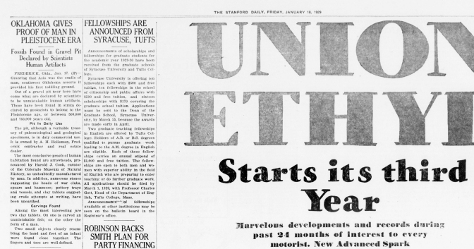 The Stanford Daily, January 18th ,1929.