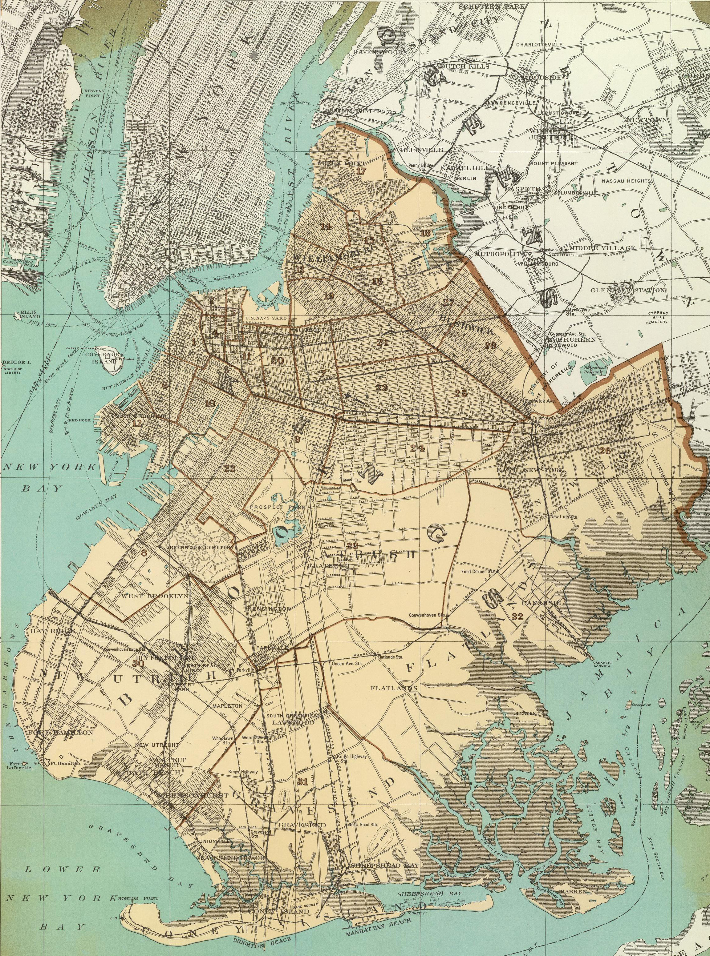 Historical Cities New York City Brooklyn And Surrounding Islands