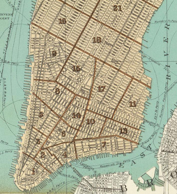 Lower East Side New York Map.Historical Cities New York City Lower Manhattan Lower East Side