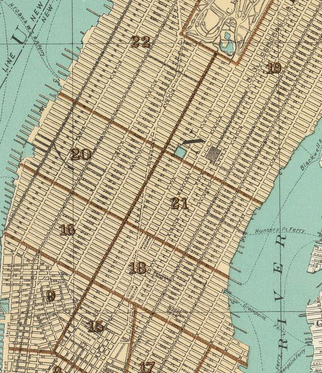 Map Of New York City With Landmarks.Historical Cities New York City Mid And Upper East And West Sides Is